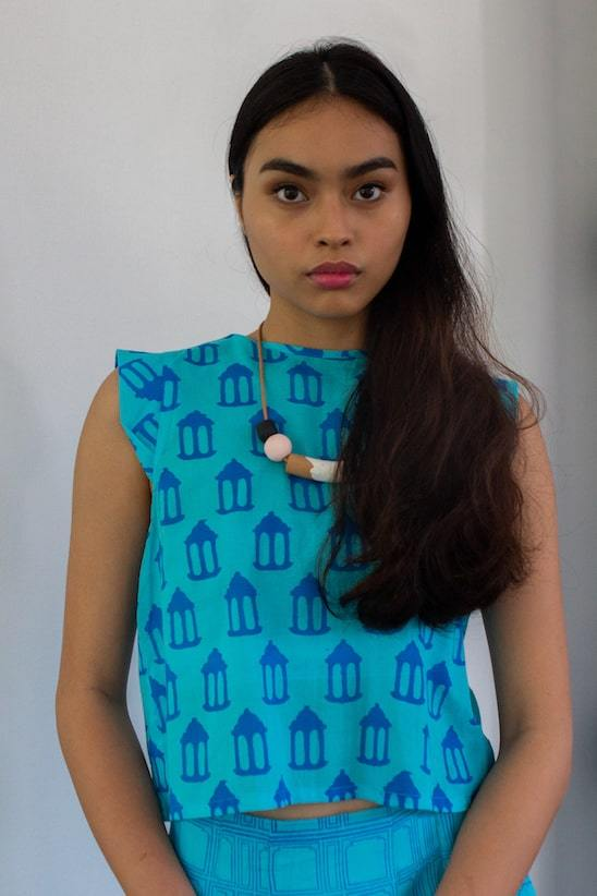Baadal Organic Cotton Cropped Top in Turquoise