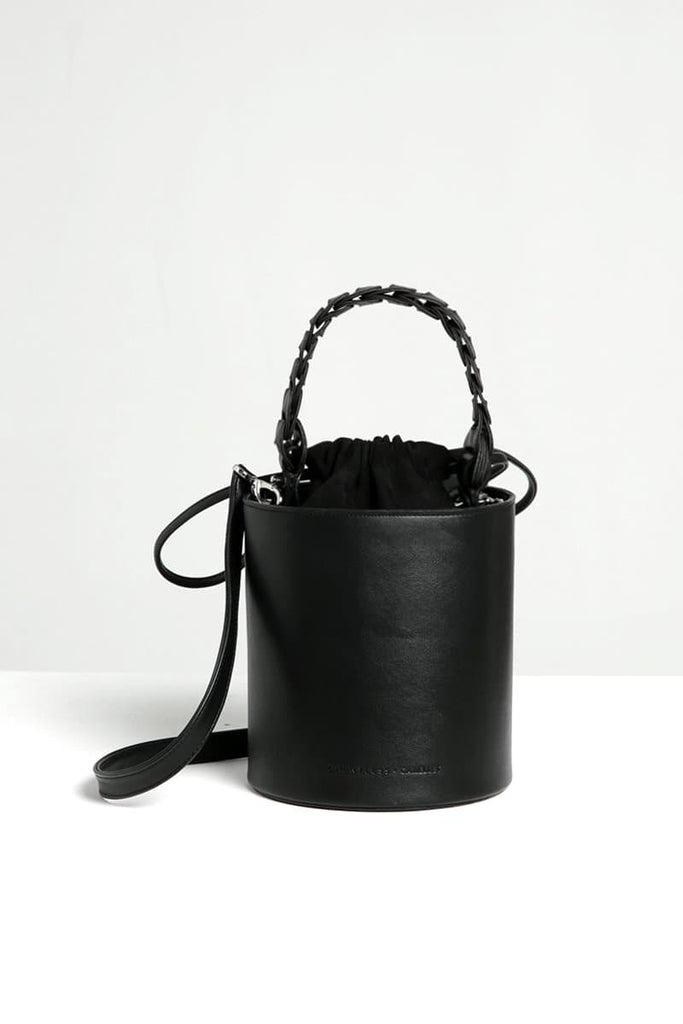 Cora Handmade Vegan Faux Leather Bucket Bag in Black