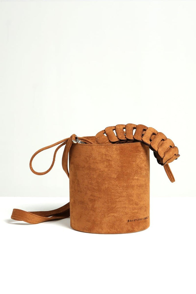 Ziba Handmade Suede Bucket Bag in Caramel