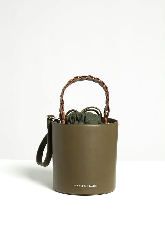 Marina Handmade Vegan Faux Leather Bucket Bag in Green