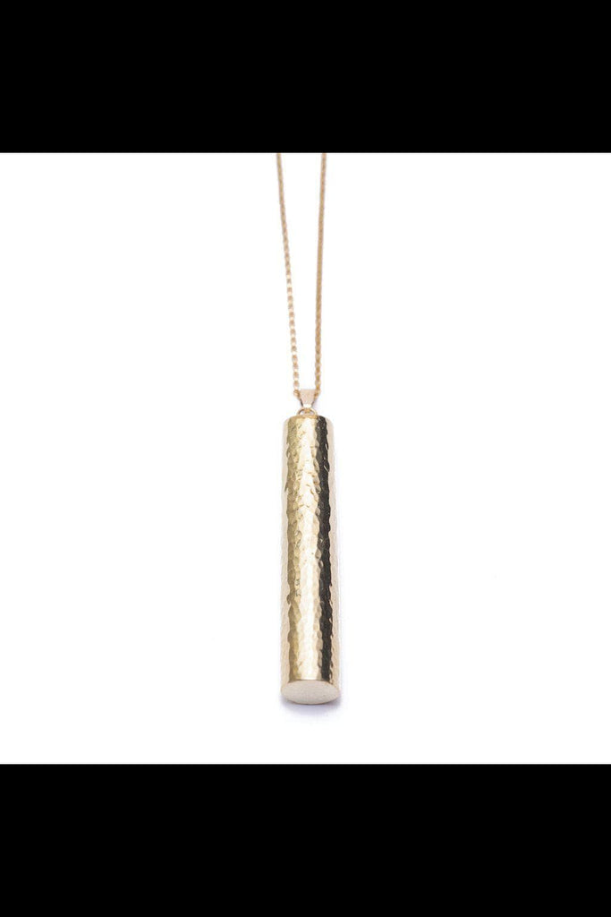 Bahati Hammered Brass Cylinder Pendant Necklace Yala Jewellery Ethical Brass Modern African