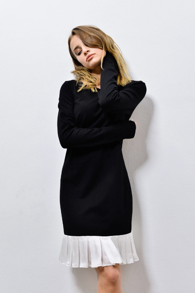 Upcycled Cotton & Silk Dress in Black