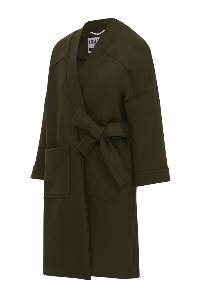 Kung Fu Recycled PET Wrap Coat in Olive