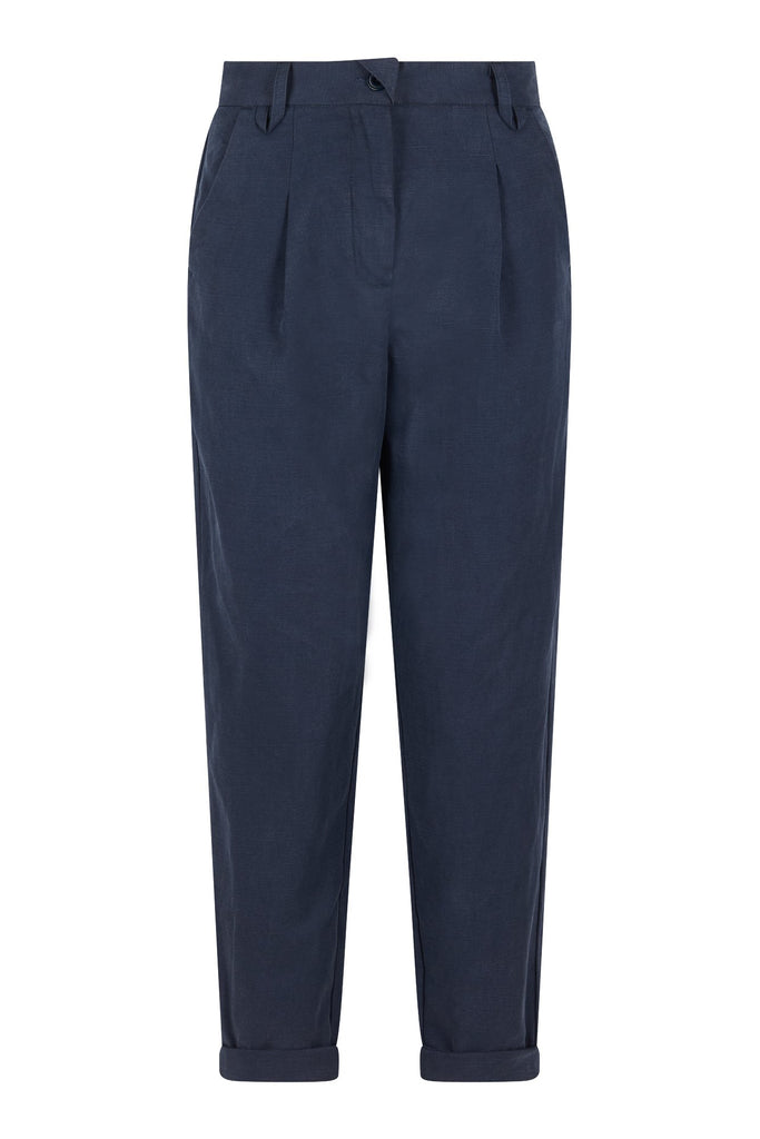 Lila Tencel & Linen Trousers in Ink
