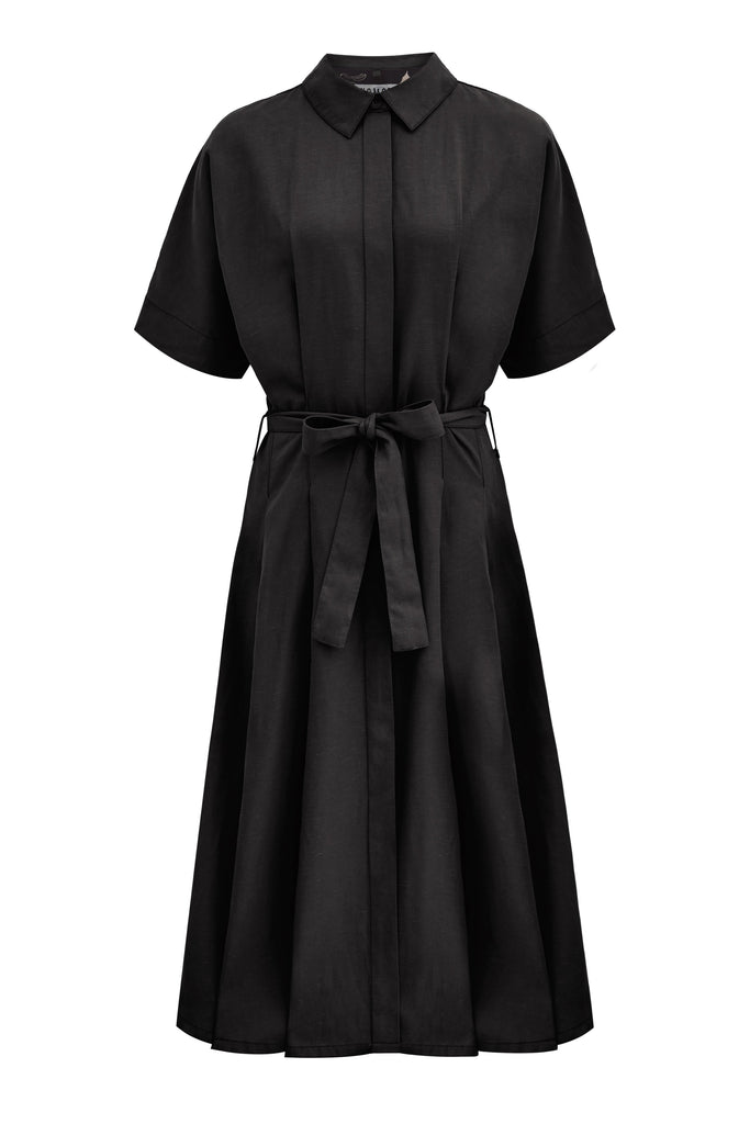 Ashes Vegan Tencel & Linen Kimono Wrap Dress in Coal
