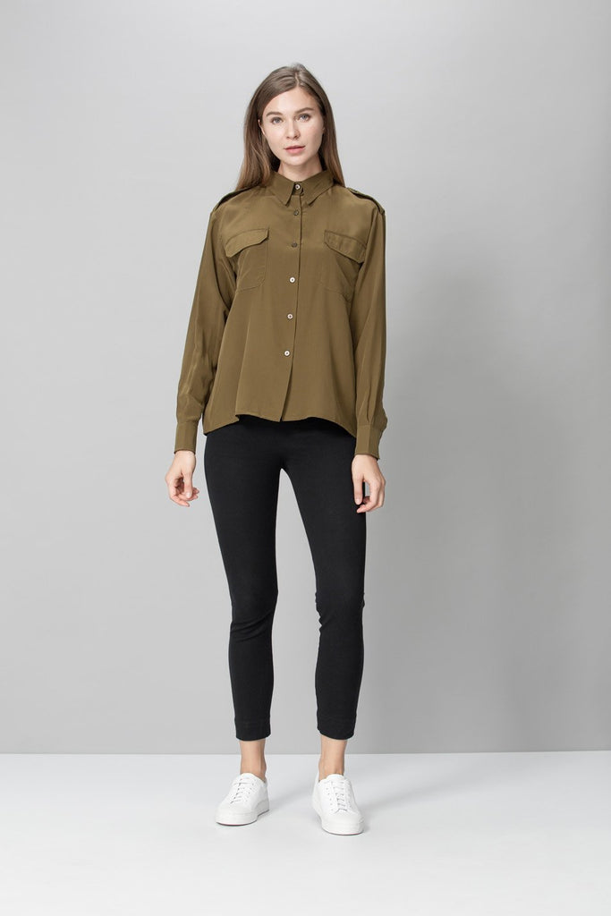 Monterey Upcycle Silk Shirt in Khaki