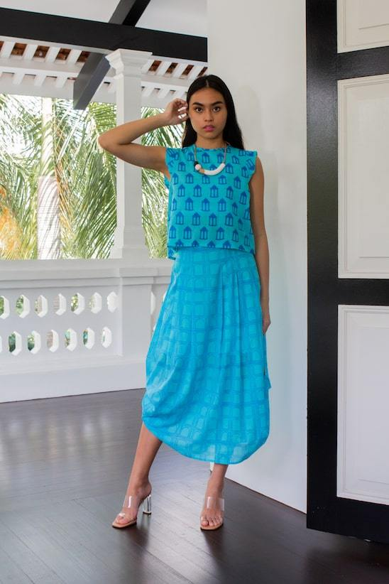 Chaand Organic Cotton Maxi Skirt in Turquoise