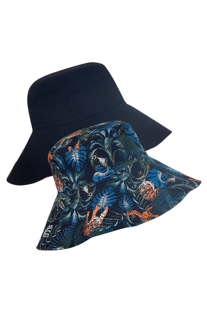 Coco Vegan Linen Reversible Hat in SOS Print & Black