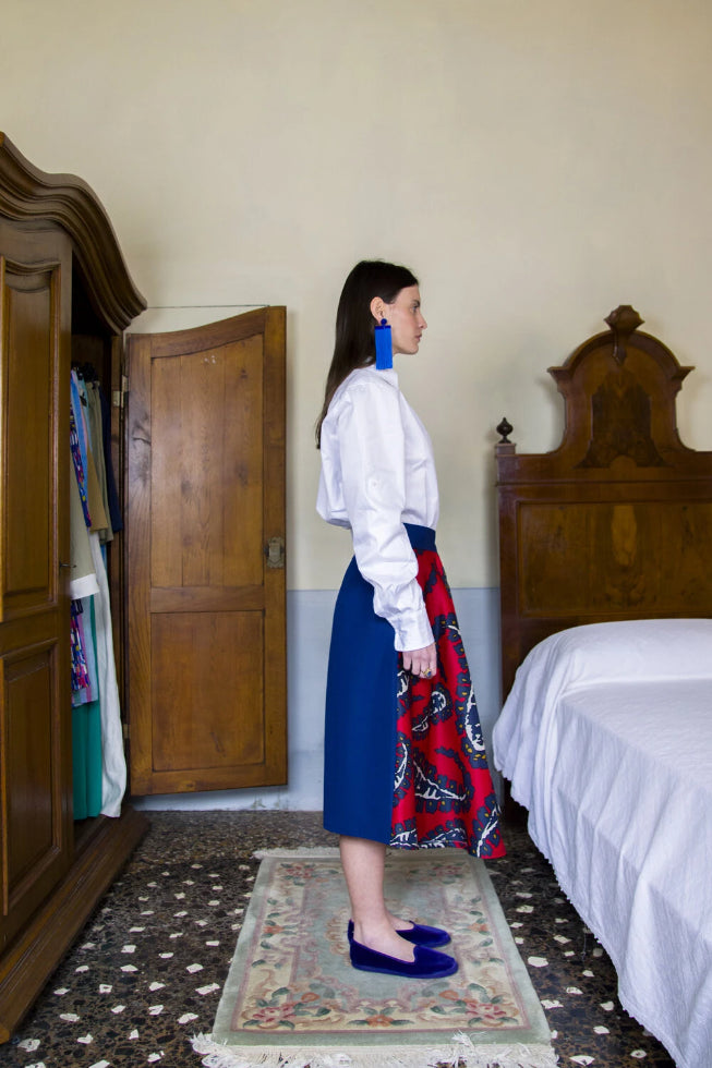 Riviera Deadstock Silk & Cotton Skirt in Red & Blue