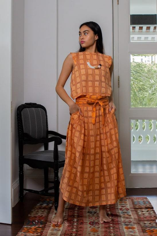 Chaand Skirt & Baadal Top Organic Cotton Set in Orange