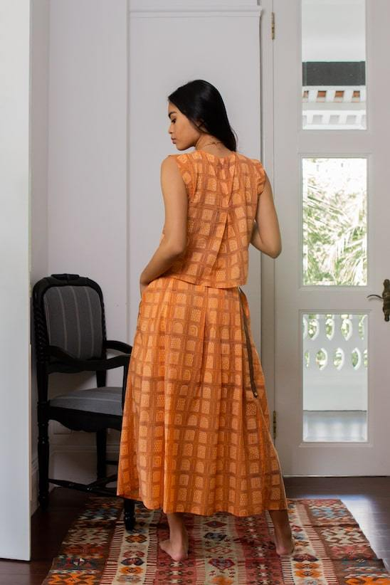 Chaand Organic Cotton Maxi Skirt in Orange