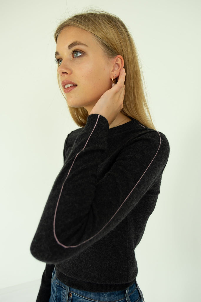 The Andrea Handmade Cashmere Sweater in Black