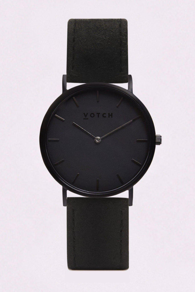 Classic Piñatex By-product Watch in Black, Dark Grey, Black Strap