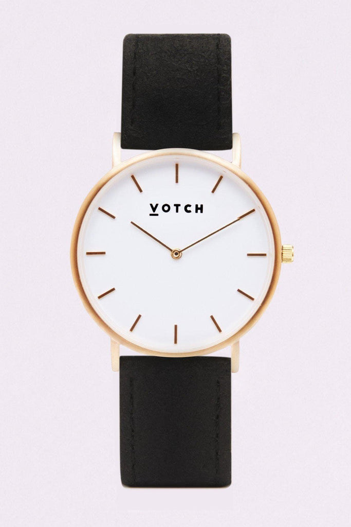 Classic Piñatex By-product Watch in White, Gold, Black Strap