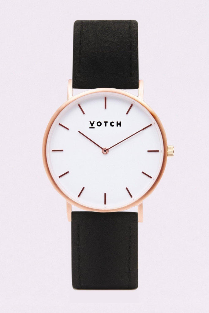 Classic Piñatex By-product Watch in White, Rose Gold, Black Strap