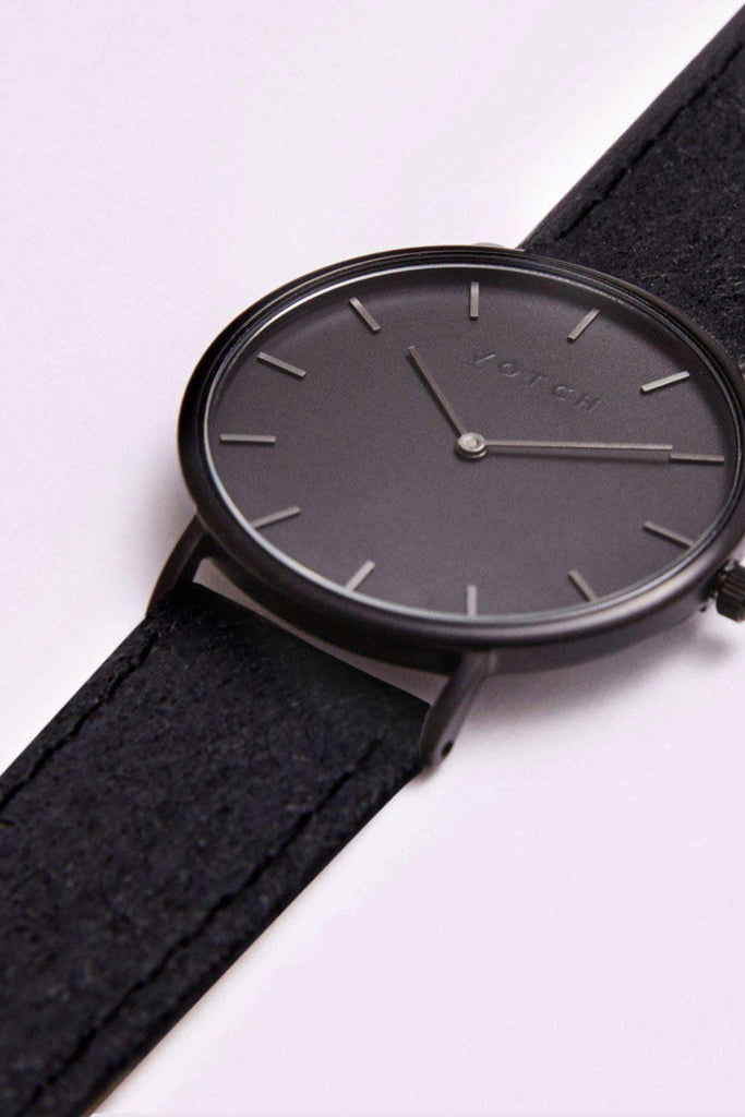 Classic Piñatex By-product Watch in Black, Dark Gray, Black Strap