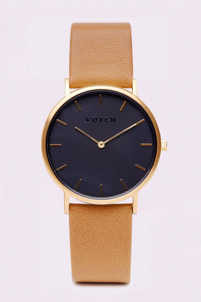 Classic Vegan Leather Watch in Gold, Black, Tan Strap