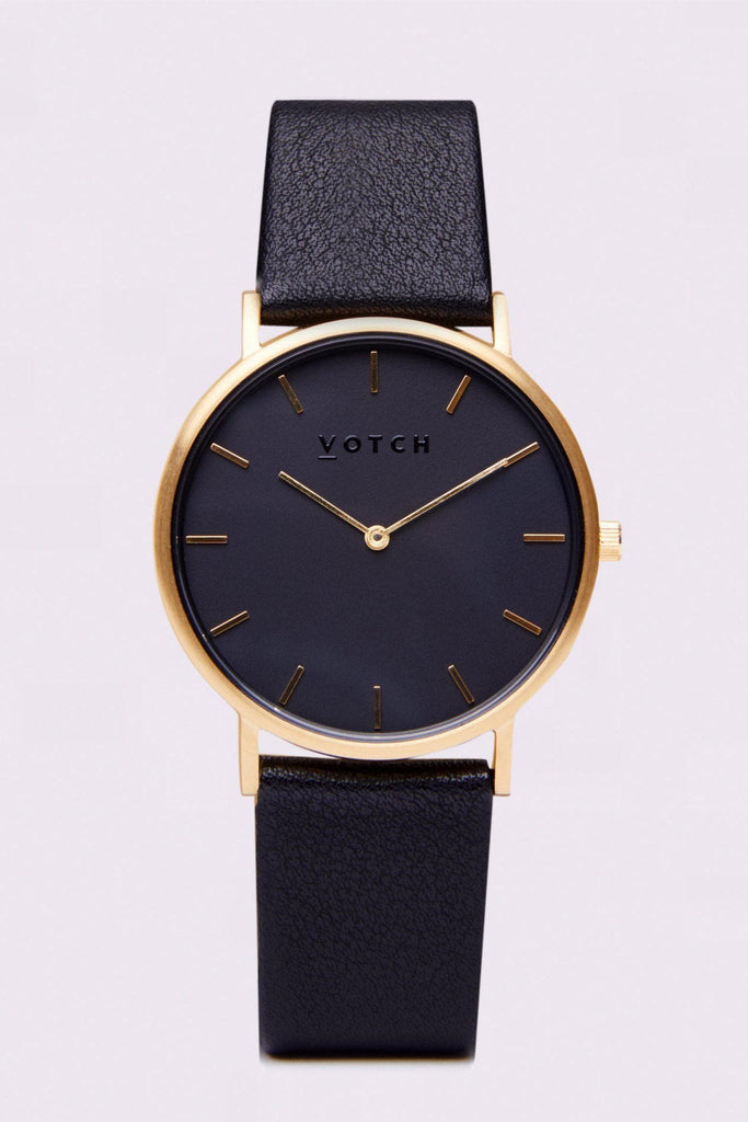 Classic Vegan Leather Watch in Gold, Black, Black Strap