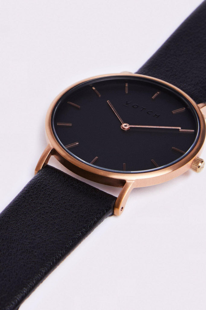 Classic Vegan Leather Watch in Rose Gold, Black, Black Strap