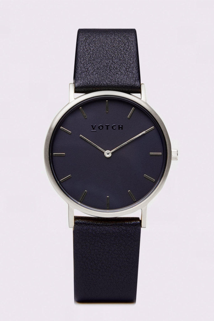 Classic Vegan Leather Watch in Silver, Black, Black Strap