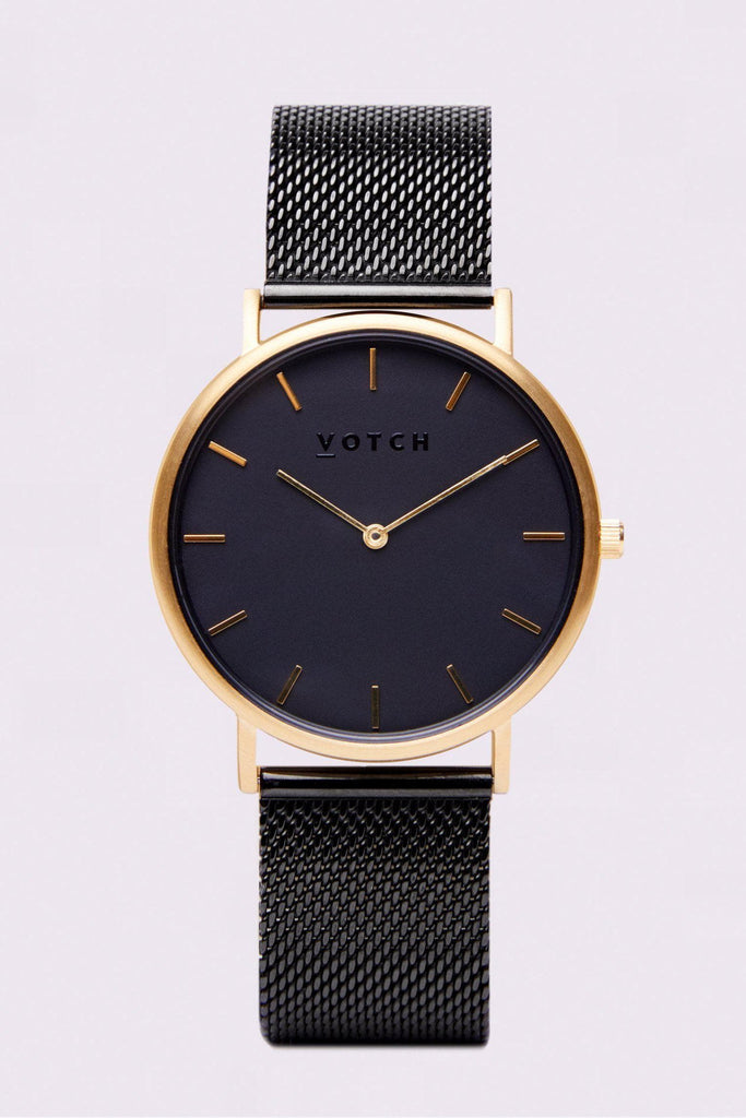 Mesh Stainless Steel Watch in Black, Gold, Black Strap