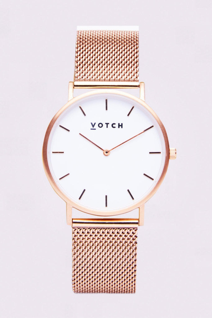 Mesh Stainless Steel Watch in White, Rose Gold, Rose Gold Strap
