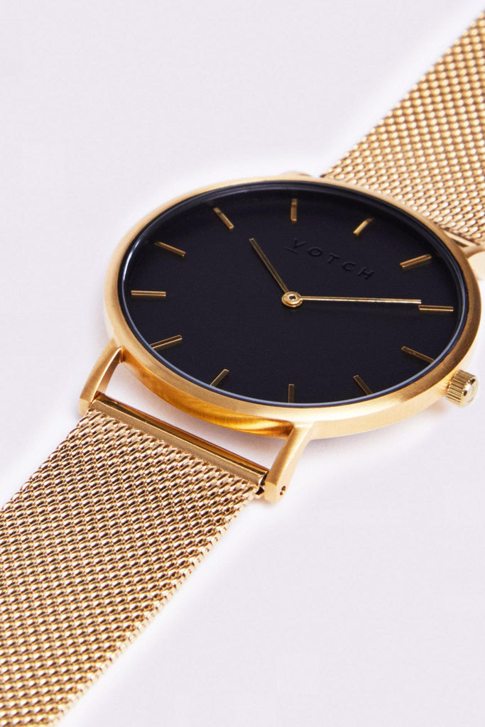 Mesh Stainless Steel Watch in Black, Gold, Gold Strap