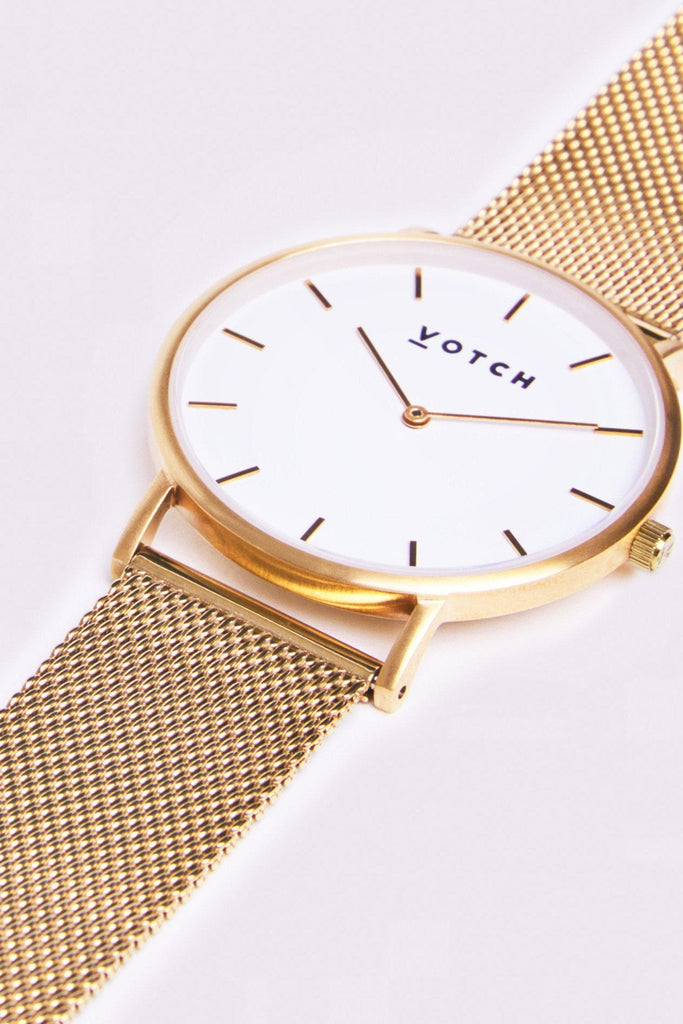 Mesh Stainless Steel Watch in White, Gold, Gold Strap