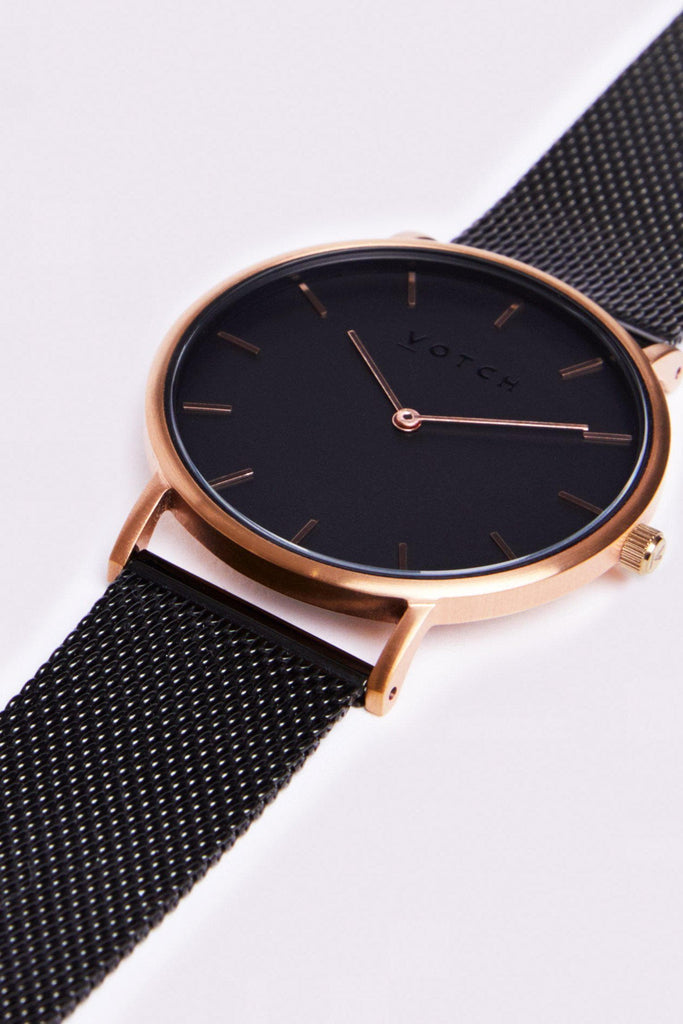 Mesh Stainless Steel Watch in Black, Rose Gold, Black Strap
