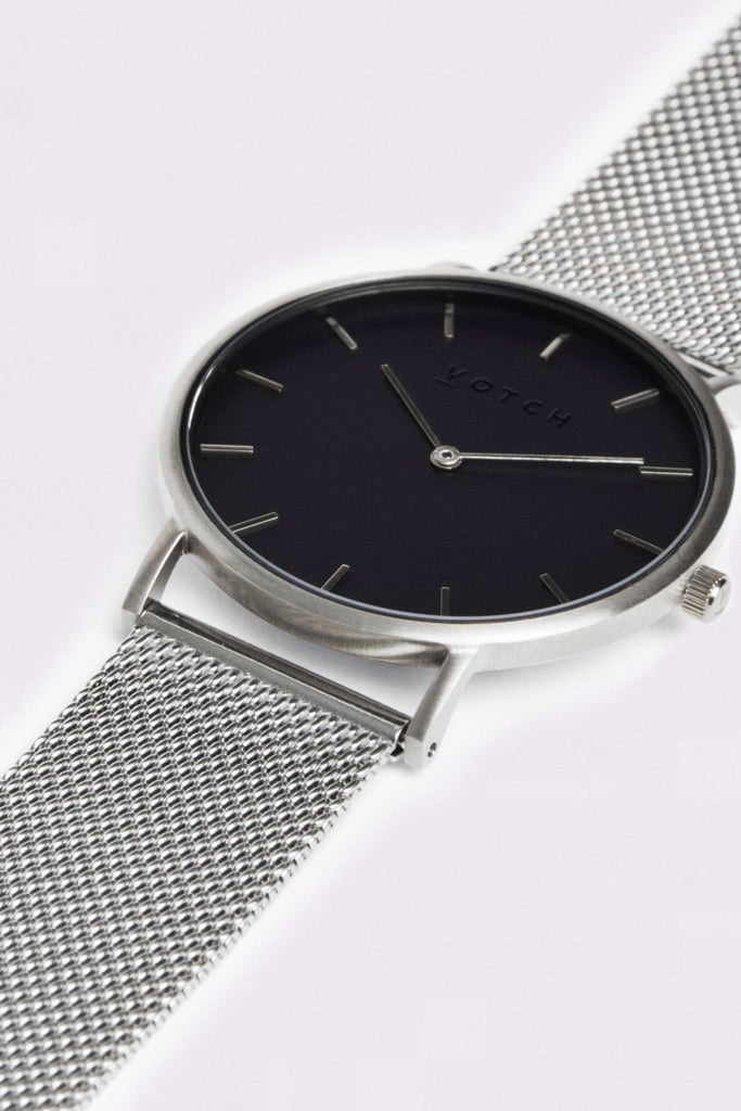 Mesh Stainless Steel Watch in Black, Silver, Silver Strap