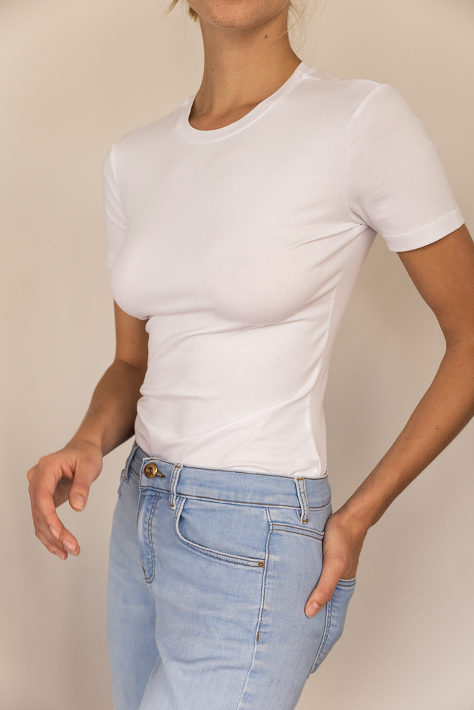 Slim fit - Supima Organic Cotton Elastane T-shirt in White