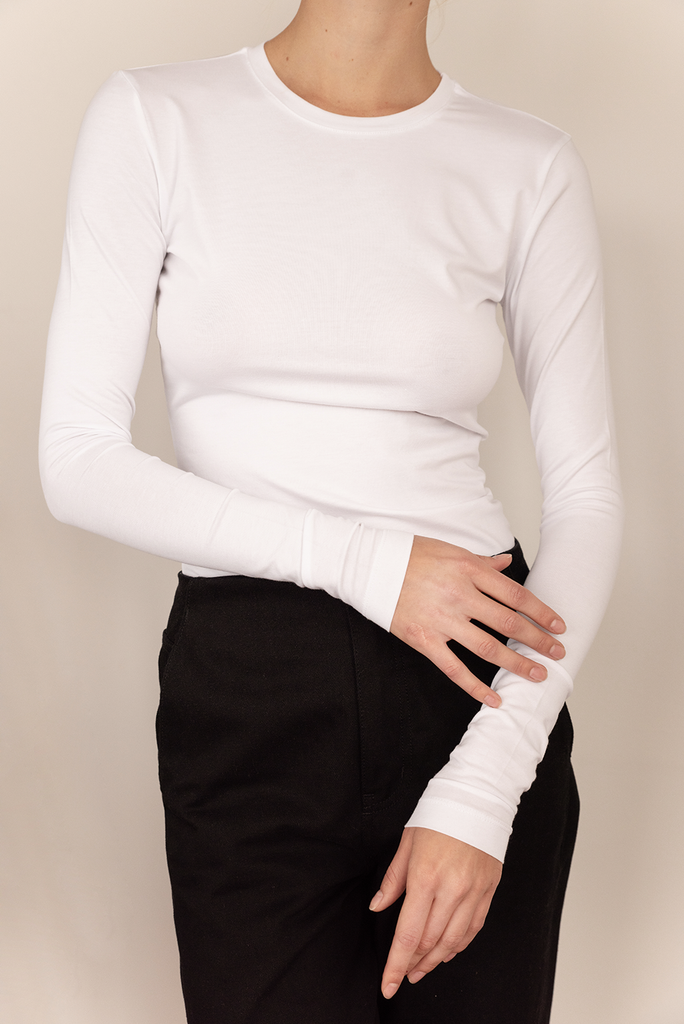 Slim fit Long sleeves - Supima Organic Cotton Elastane in White