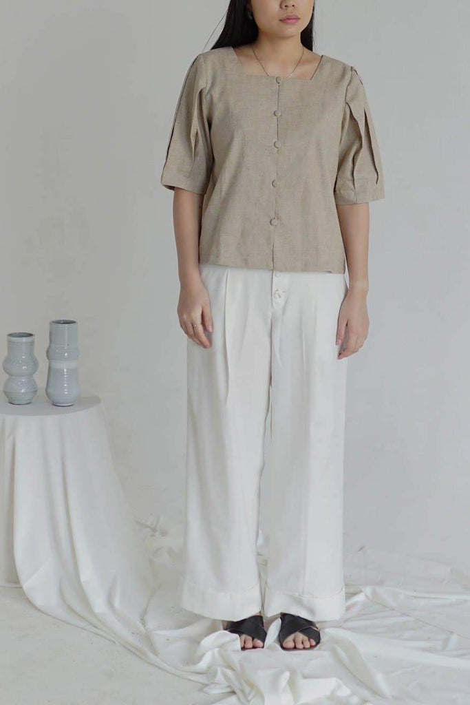 Natural Raw Linen Top in Beige