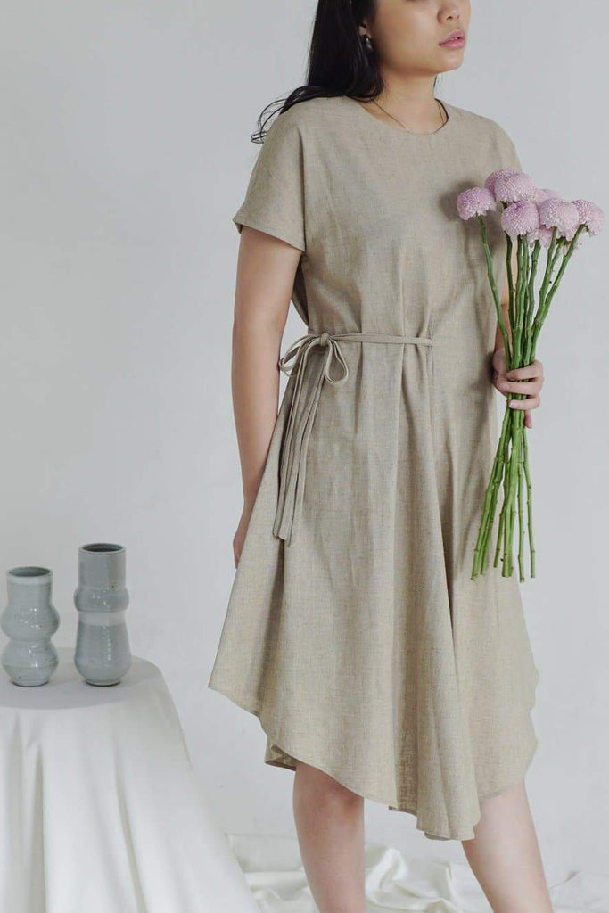 Sustainable Linen A-Line Dress in Beige