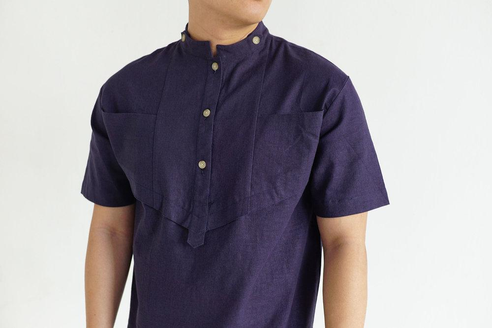 Mao Organic Linen & Rayon Shirt in Navy