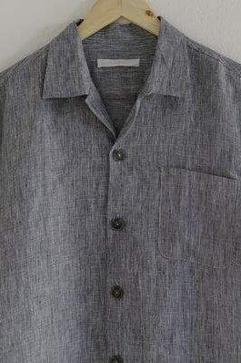 Organic Linen Shirt in Blue Gray
