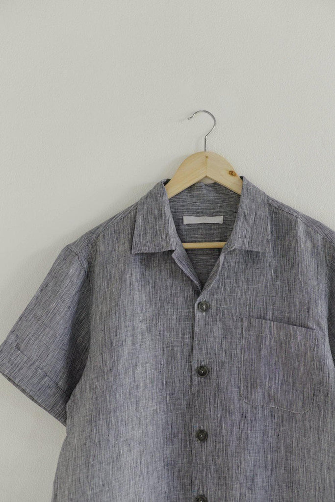 Organic Linen Shirt in Blue Grey