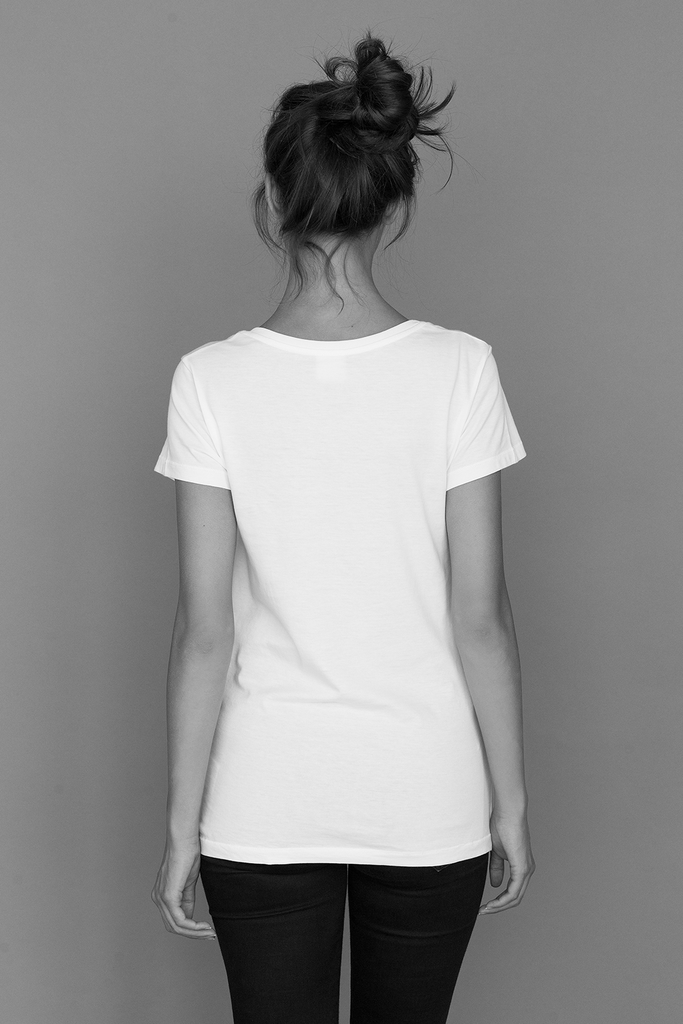 Relax Fit wider neck line Suvin Organic Cotton T-shirt in White