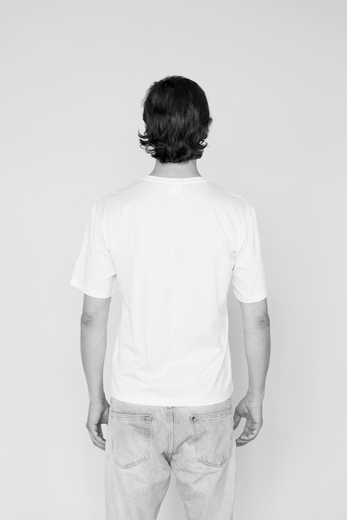 Man Drop Shoulder Suvin Organic Cotton T-shirt in White