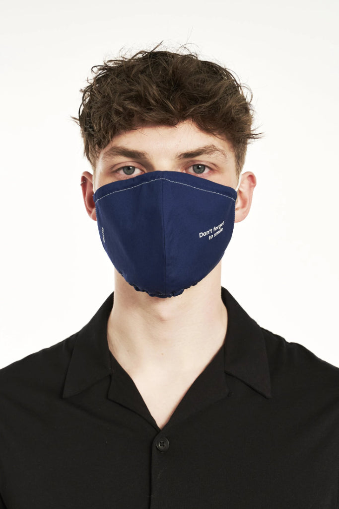 2 x I Am Blue Organic Cotton Masks in Blue & Black & White