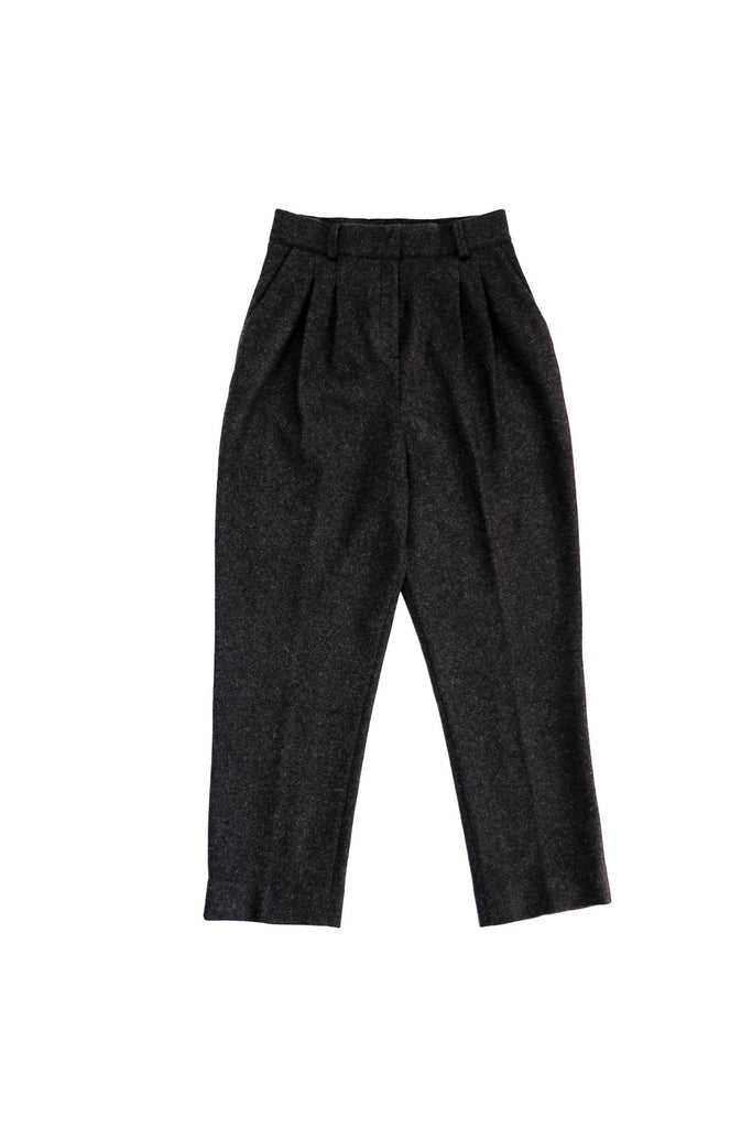 Archie Ethical Wool Cigarette Trousers in Black