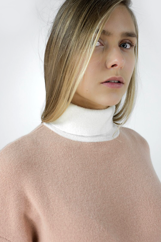 Izabel Angora Blend Sweater - White & rusty rose