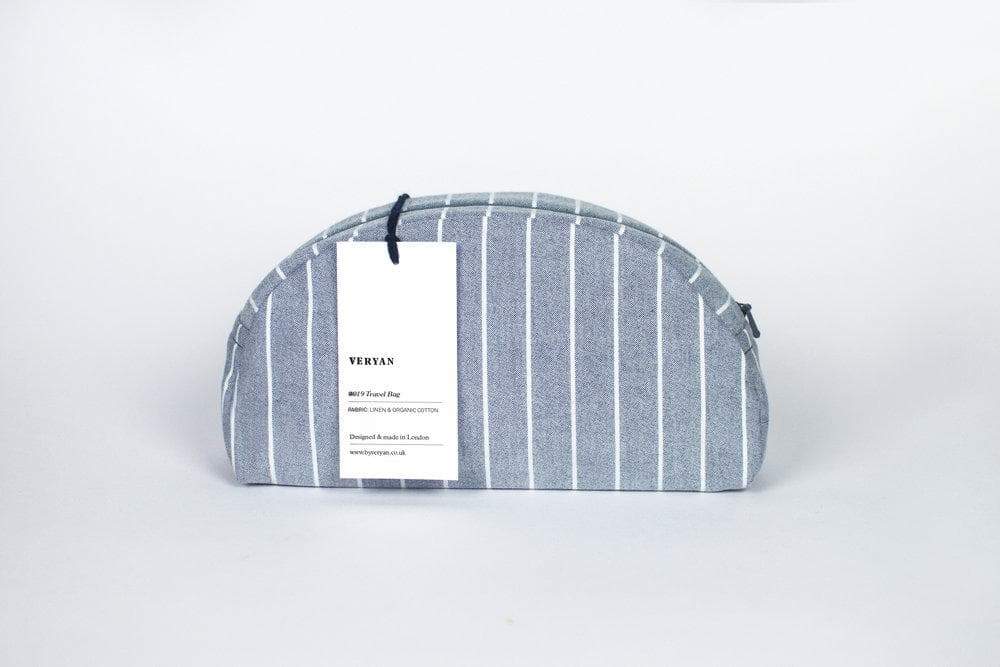 #033 Organic Cotton Women Striped Make-up Bag in Blue