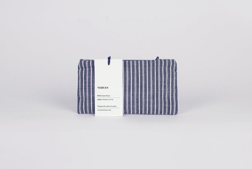 #006 Unisex Organic Cotton Striped Coin Purse in Blue