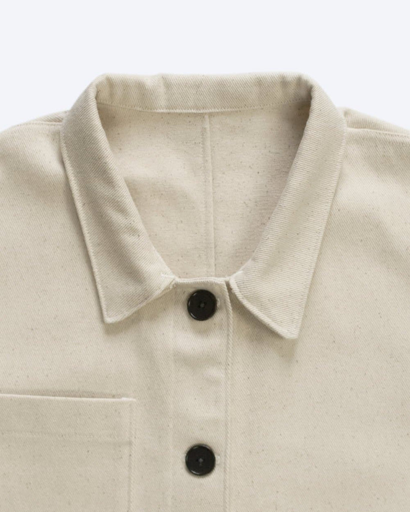 #038 Organic Cotton Denim Workwear Chore Jacket in Seeded Cream