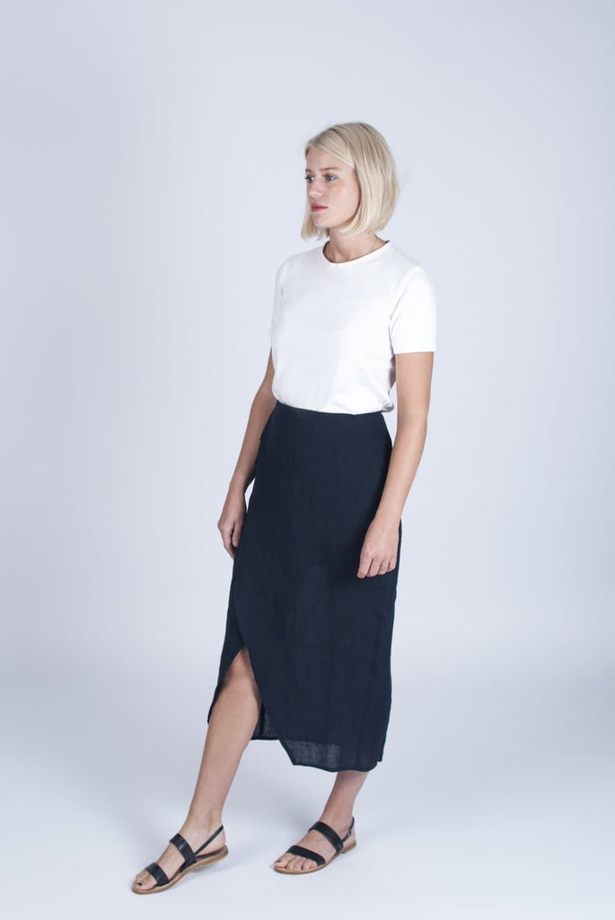 #026 Vegan Linen & Organic Bamboo Silk Wrap Skirt in Navy