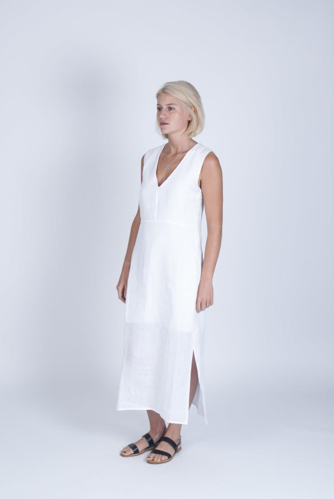#025 Vegan Linen & Organic Bamboo Silk Dress in White