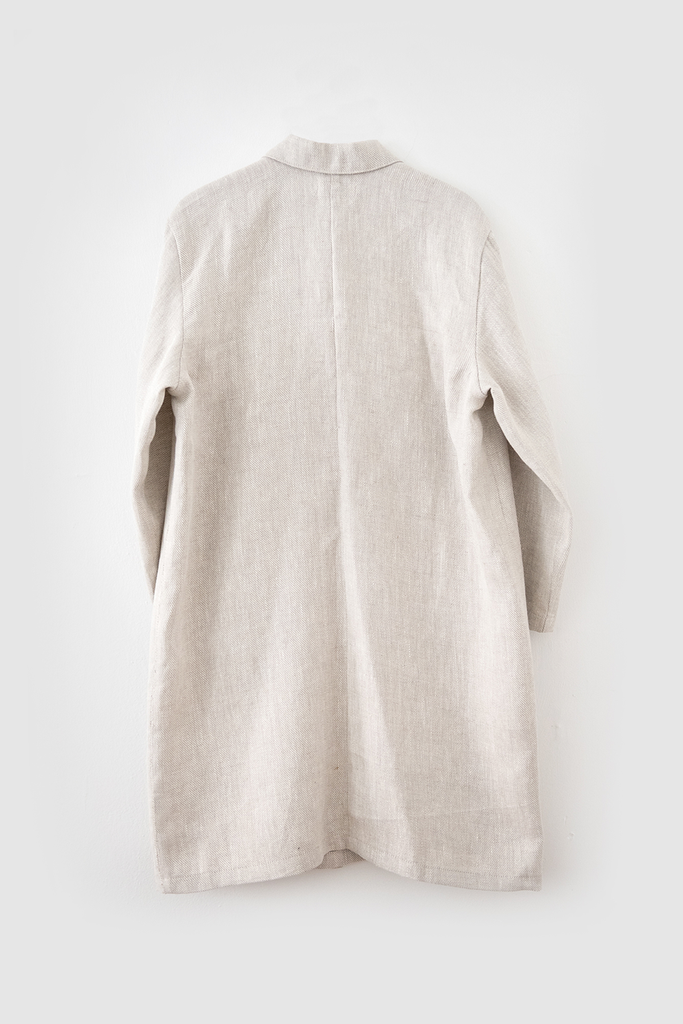 Workshop Vegan Linen Twill Coat in Grey