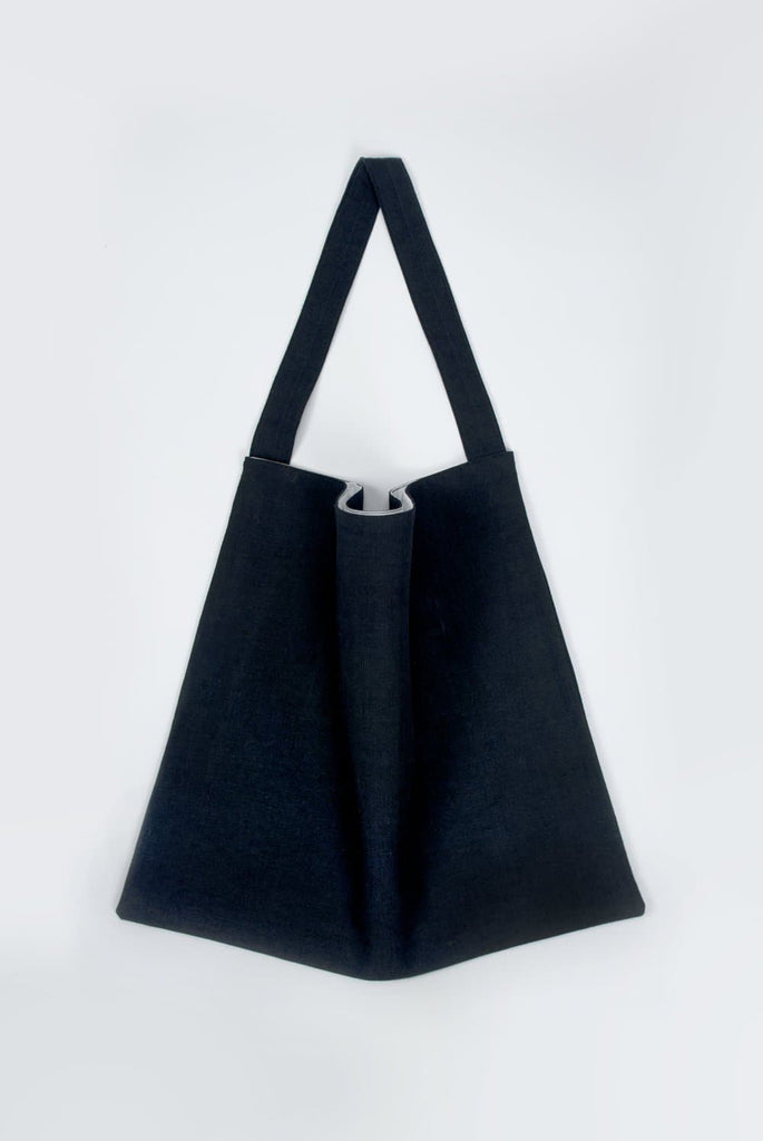#029 Unisex Organic Cotton & Linen Tote Bag in Navy