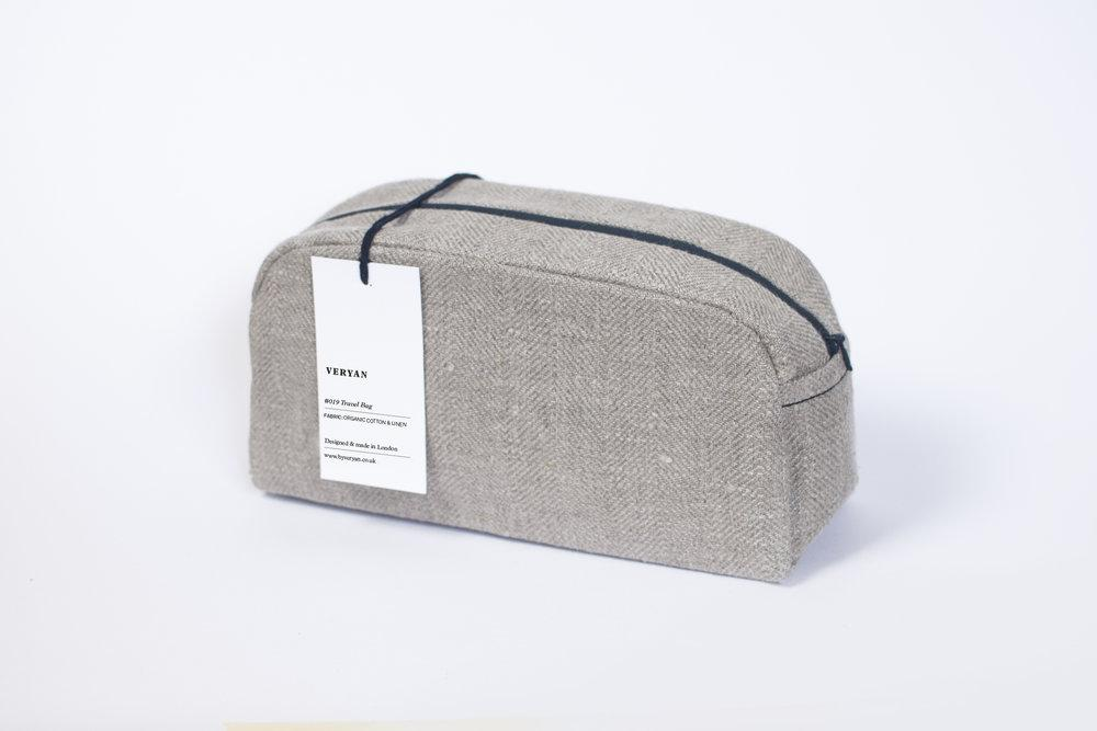 #019 Unisex Organic Cotton Travel Bag in Gray
